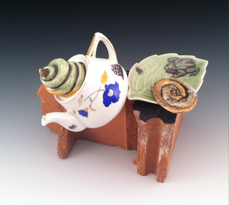 "Robert Harrison, ""Sustenance"", glazed reclaimed brick and porcelain with handbuilt ceramic elements, decals, gold luster"